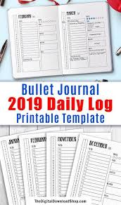 Daily Planners 2015 2020 2019 2020 Bullet Journal Daily Log Template Printable