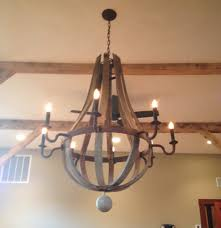 decorating custom orb wine barrel chandelier with up lights for living room decor ideas