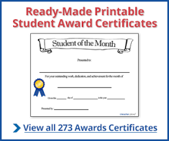 Student Of The Month Certificate Templates Student Award Certificates Free Certificate Builder