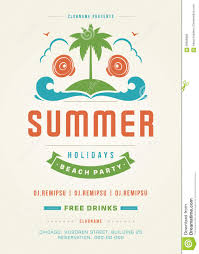 retro summer holidays beach party poster or flyer design template retro summer holidays beach party poster or flyer design template