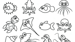 Marine inhabitants coloring book, sea animals coloring pages for kids, coloring by number, pixel coloring book, classroom activity. Printable Sea Animals Coloring Pages For Kids