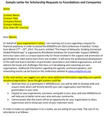 Sample Scholarship Request Letters 6 Scholarship Request Letters Find Word Letters