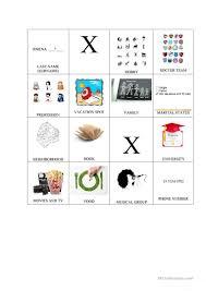 Bingo Chart English Esl Worksheets