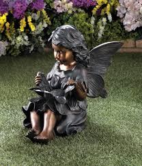 bronze look sweet flower fairy garden statue