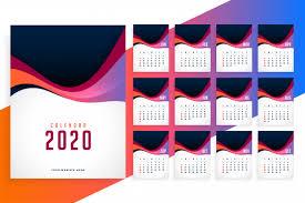 Modern 2020 New Year Stylish Calendar Template Vector Free