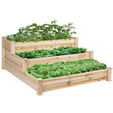 best choice products 3 tier wooden raised elevated vegetable garden bed planter kit for outdoor gardening