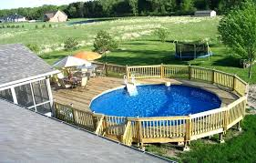 E Pool And Deck Ideas Above Ground Decks Privacy  G Wood  Round