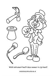 Kleurplaat Clown Hamer Microfoon Spelletjes