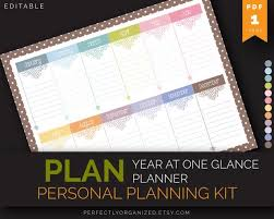 At A Glance Organizer Year At One Glance Perpetual Planner Important Dates Calendar Pastel Printable Pdf Planner Organizer Diy Household Pdf Printables