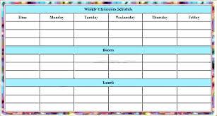 Excel Class Schedule Template Weekly Calendar Fatfreezing Club