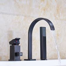 oil rubbed bronze bathtub faucet waterfall spout single handle countertop mixer tap with hand shower