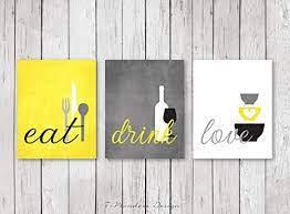 21'' h x 9.5'' w. Amazon Com Moira Kitchen Wall Art Print Set Eat Drink Love Yellow Grey Black White Modern Kitchen Decor Set Of 3 Many Sizes Framed Canvas Print Posters Prints