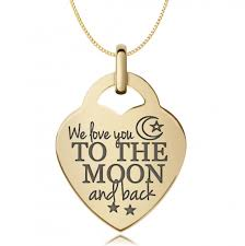 we love you to the moon back necklace 9ct gold personalised engraved