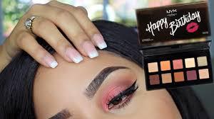 nyx happy birthday palette ulta cranberry eye tutorial