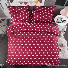 whole love heart red bedding set white hearts duvet cover bed set single double queen king size bed sheets bedlinen drop heart bedding set love