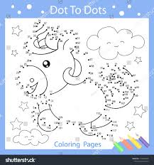 worksheets dot to dots with drawn the funny unicorn children funny drawn riddle coloring
