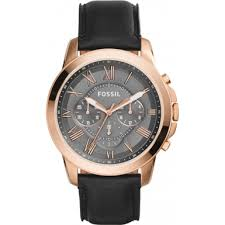 fs5085 grant fossil mens watch watches2u fossil fs5085 mens grant black leather chronograph watch