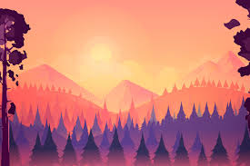 In order to use this file you must credit the author with the a link back to this page. Sunset Landscape With Mountain And Forest 229680 Backgrounds Design Bundles