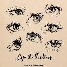 sketches of female eyes set