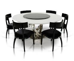 a x spiral modern round white dining table with lazy susan