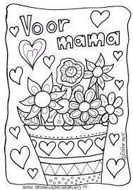Moederdag Kleurplaat Met Bloemen Moederdag Moederdag