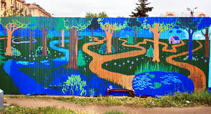 The Forest Mural on a metal fence covering a construction zone