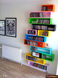 colorful dvds storage racks for the walls beautiful wall mounted dvd storage shelving ideas