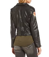 black jackets gibson latimer gibson latimer faux leather embroidered moto jacket womens black