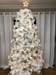 White Garland No Lights Spiral Ribbon White Christmas Tree With Gold White