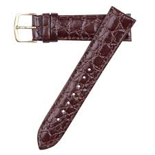 18mm hadley roma crocodile embossed brown leather watch band strap short ms717