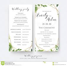 Border Designs For Wedding Programs Wedding Program Card For Ceremony And Party With Modern