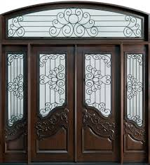 Outstanding Mahogany Walnut Front Door Frame With Double Frosted - Hardwood exterior doors and frames