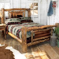 Rustic Beds: California King Size Aspen Creek Log Bear Bed|Black ...