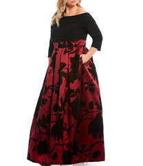 Nine West Plus Size Chart Jessica Howard Plus Size Flocked Floral Jacquard Skirt Fold Off The Shoulder Ballgown