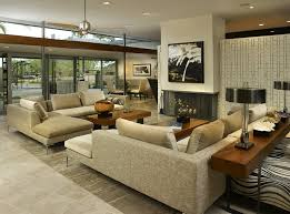 mid century modern living room white lounge yellow ornamental couch gray tile flooring small round corner