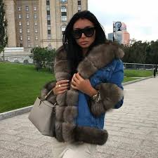 18 new denim parka real fur coat russian winter jacket women real natural fox fur coat
