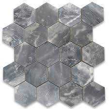 bardiglio gray 6 inch hexagon tile polished