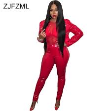 bright red pu leather 2 piece outfit for women long sleeve ons up crop coat top high waist pencil pants party club tracksuit in women s sets from
