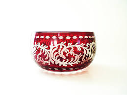 Decorative Red Glass Bowls Ruby Red Glass Bowl Decorative Candy Bowl by vintagebiffann 44
