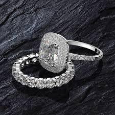 Fashion <b>Luxury</b> Gorgeous Shapphire 2 Ring Suits <b>S925</b> Silver ...