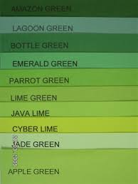 Green Shade Chart Amazon Green Different Shades Of Green Paint Bright Board