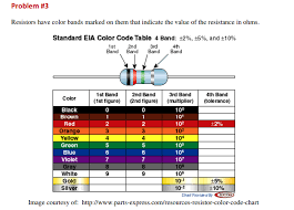 Resistance Bands Color Chart Solved Problem 3 Resistors Have Color Bands Marked On Th