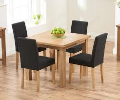 Mark Harris Sandringham 90cm Solid Oak Dining Set With 4 Maiya Black