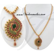 trendy design ruby emerald stone pendant with gold plated short chain for sarees