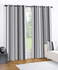 Interior Design Cool Horizontal Striped Curtains In Big Arched Grey And  White Black Plus Wooden Floor Cozy Sofa For Living