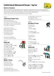 Letterland Chart Advanced Songs Lyrics Letterland