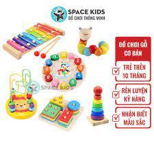 Đồ chơi gỗ cho bé trên 10 tháng tuổi Space Kids Đồ chơi gỗ cơ bản cho bé  phát triển tư duy, nhận biết màu sắc
