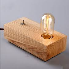 Wooden lighting Led Vintage Loft Edison Bulbs Wooden Shade Handmade Wood Led Night Table Lamp Wooden Desk Lighting Modern Desk Light Decor 110240v Imall Vintage Loft Edison Bulbs Wooden Shade Handmade Wood Led Night Table