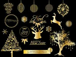 Gold Christmas Clipart, Christmas Ornaments, Deer, Christmas Tree, Gold  Foil, Scrapbooking, Crafts, Clip Art, Snowflakes, Holiday Clipart
