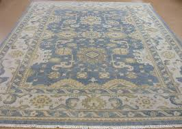 9 12 carpet oushak hand knotted tribal blue ivory brown wool new oriental rug